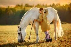 Pippi Longstocking met haar paard stock foto's