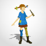 Pippi som longstocking med kikaren Royaltyfri Fotografi