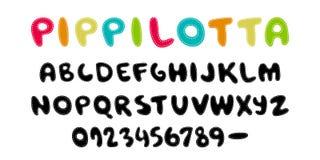 Pippilotta Estilo escrito mano del niño de la fuente del color de la exhibición ABC Alfabeto coloreado divertido cosido, remendad Fotos de archivo libres de regalías