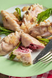 Piquant pierogi with Beetroot and cheese filling Royalty Free Stock Images