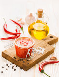Piquant sauce made from chili peppers and garlic Royalty Free Stock Images