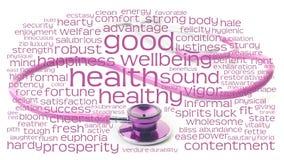 Pique el estetoscopio y el wordcloud de la salud Imagenes de archivo