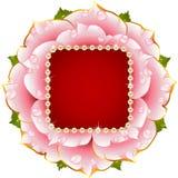 Pique el marco color de rosa de la boda con la perla Foto de archivo