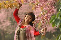 Pique las flores y a la señora freshy Imagen de archivo libre de regalías