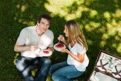 Pique-nique à l'extérieur en été Images libres de droits