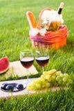 Pique-nique avec le vin rouge sur l'herbe Photo libre de droits