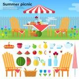 Pique-nique d'été et icônes des nourritures Image libre de droits