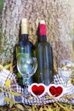 Pique-nique d'automne avec des bouteilles de vin et des verres - date romantique Image libre de droits