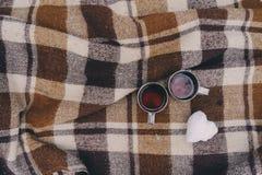 Pique-nique d'hiver sur la neige Coeur chaud de thé, de thermos et de boule de neige sur la couverture chaude confortable Image libre de droits