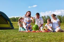 Pique-nique de famille en parc Photo stock