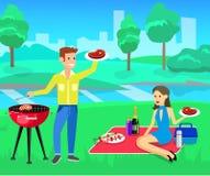 Pique-nique de famille Partie de BBQ Nourriture et barbecue Photographie stock