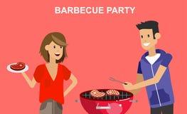 Pique-nique de famille Partie de BBQ Nourriture et barbecue Photos stock