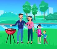 Pique-nique de famille Partie de BBQ Nourriture et barbecue Photographie stock libre de droits
