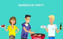 Pique-nique de famille Partie de BBQ Nourriture et barbecue Photos libres de droits