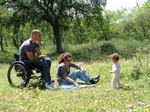 Pique-nique de fauteuil roulant photos stock