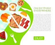 Pique-nique de petit déjeuner dans l'illustration de vecteur d'affiche de parc Bonne humeur Petit déjeuner sur la nature Rencontr illustration de vecteur