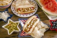 Pique-nique de vacances d'été avec les hot-dogs et les puces Photographie stock libre de droits