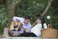 Pique-nique enceinte de couples dans la nature Photos libres de droits
