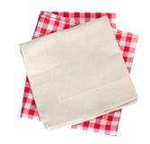 Pique-nique et tissu texturisé de cuisine de coton d'isolement Image stock