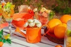 Pique-nique orange avec des fleurs et des verres d'oranges Photos stock