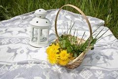 Pique-nique, panier avec des dandelios et lampe Image libre de droits