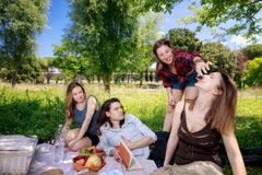 Pique-niquez au parc, quatre amis jouent et ont l'amusement tout en mangeant Image libre de droits