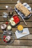 Pique-niquez avec du farine de blé entier-blé-orthographier-pain, les immersions, le crudites, le fraise-yaourt et la limonade image stock