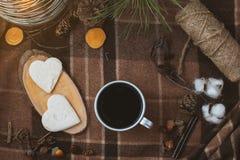 Pique-niquez en nature, une tasse de café noir, cônes photo libre de droits