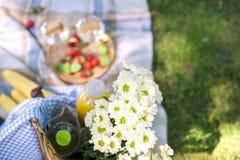 Pique-niquez en parc sur l'herbe verte, un jour ensoleillé d'été Fleurs, panier, vin en verres et une couverture Copiez l'espace  photos stock