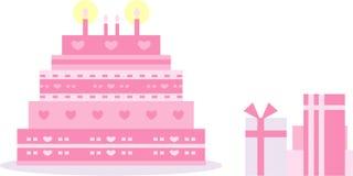 Bolo cor-de-rosa do aniversário/casamento fotos de stock royalty free