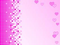 Pique o fundo com pixéis e corações Imagem de Stock Royalty Free