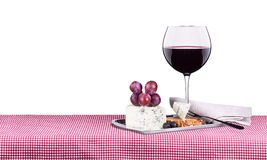 Piquenique com vinho e alimento Foto de Stock Royalty Free