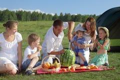 Piquenique da família Imagens de Stock Royalty Free