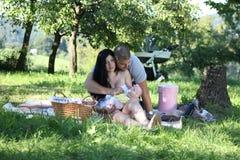 Piquenique da família no parque imagens de stock royalty free