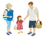 Piquenique da família - roupa do verão - clipart ilustração do vetor