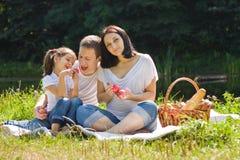 Piquenique da família com maçãs Foto de Stock Royalty Free