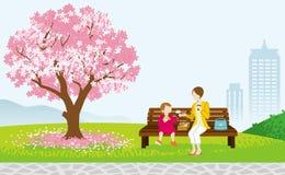 Piquenique da mãe e da criança no parque da mola ilustração stock
