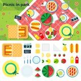 Piquenique do verão na bandeira e nos ícones do parque Fotografia de Stock Royalty Free