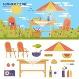 Piquenique do verão no jardim Fotos de Stock Royalty Free