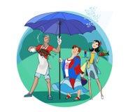 Piquenique na chuva fotografia de stock royalty free