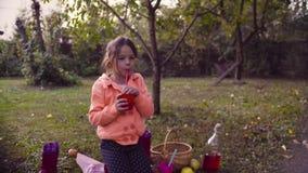 Piquenique no jardim Uma menina que senta-se na grama e no compot bebendo filme