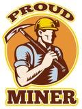 Piqueta del minero de carbón retra stock de ilustración