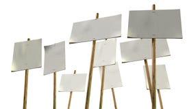 Piquete en blanco Plackards de los huelguistas Imagen de archivo libre de regalías