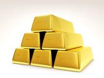 Pirámide de barras de oro en el fondo blanco Fotos de archivo