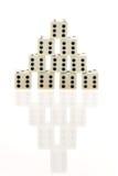 Pirámide de dados con la demostración de Sixes Fotos de archivo