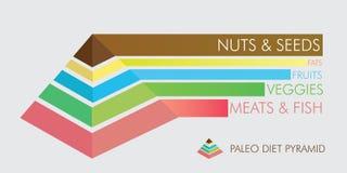 Pirámide de la dieta de Paleo Imagen de archivo libre de regalías