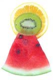 Pirámide de la sandía, de la naranja y del kiwi Fotos de archivo