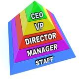 Pirámide de los niveles de la cadena de mando en la organización ilustración del vector