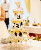 Pirámide de los vidrios del champán Fotografía de archivo