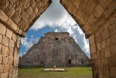 Pirámide del mago en Uxmal, Yucatán, México foto de archivo libre de regalías